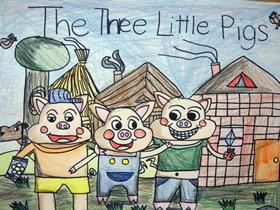 三只快乐的小猪蜡笔画作品图片