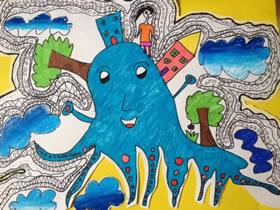 恐怖的大章鱼蜡笔画作品图片