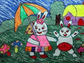 兔妈妈和兔宝宝的蜡笔画作品图片