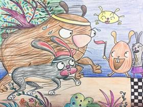 动物赛跑蜡笔画作品图片