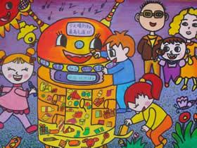 智能垃圾桶环保主题蜡笔画作品图片