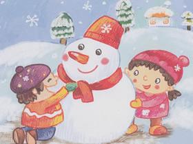 优秀堆雪人蜡笔画作品图片