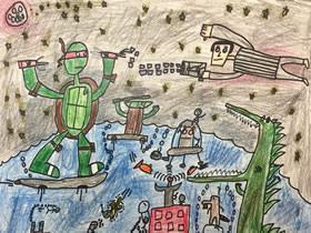 战斗的忍者神龟蜡笔画作品图片