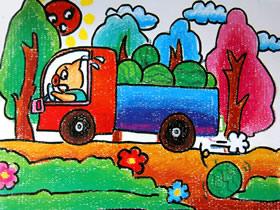 运西瓜的小猪蜡笔画作品图片