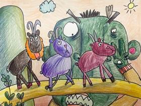 过独木桥的羊蜡笔画作品图片