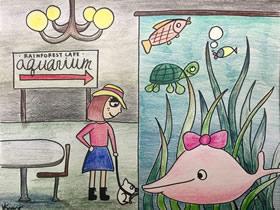 参观海洋馆蜡笔画作品图片