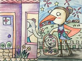 送象宝宝的小鸟快递员蜡笔画作品图片
