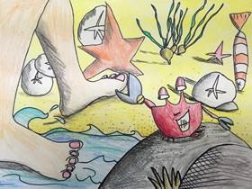 坏蛋小螃蟹蜡笔画作品图片