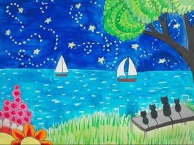 夜晚宁静的海边蜡笔画作品图片