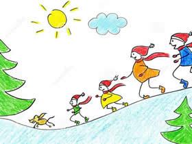 一起溜冰蜡笔画作品图片