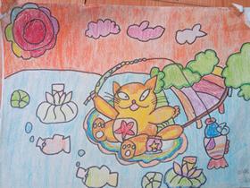 小花猫钓鱼蜡笔画作品图片
