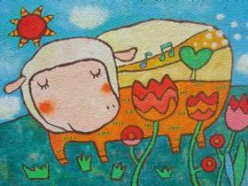 唱歌的小绵羊蜡笔画作品图片