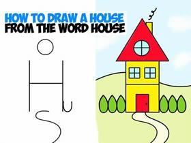 英文单词House简笔画小房子的画法图片步骤