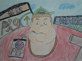 喝饮料的大胖子蜡笔画作品图片