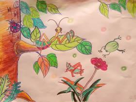 昆虫世界蜡笔画作品图片
