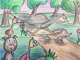 狗狗和鸵鸟赛跑蜡笔画作品图片