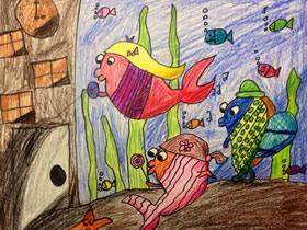好奇的鱼儿蜡笔画作品图片