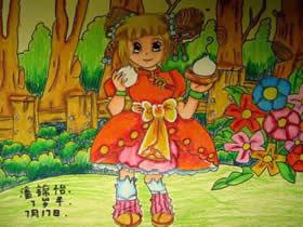 喜欢吃包子的女孩蜡笔画作品图片