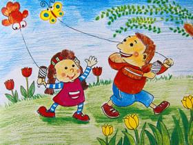 一起放风筝蜡笔画作品图片