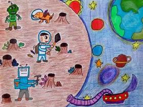 开荒外星球科幻蜡笔画作品图片