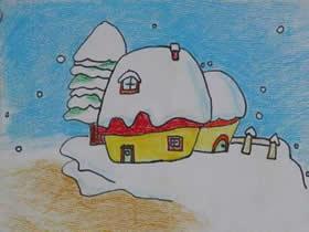 雪中小屋蜡笔画作品图片