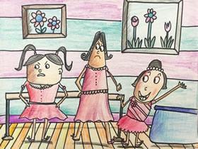 学跳舞的女生蜡笔画作品图片