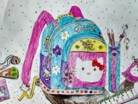 我的漂亮书包蜡笔画作品图片