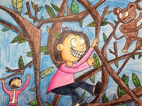 爬树的小女孩蜡笔画作品图片
