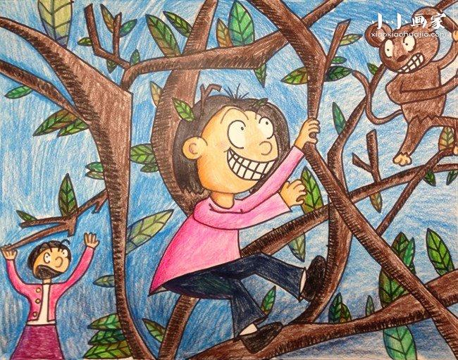 爬树的小女孩蜡笔画作品图片- www.xiaoxiaohuajia.com
