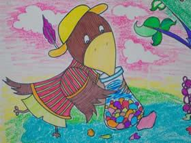 乌鸦喝水的蜡笔画作品图片