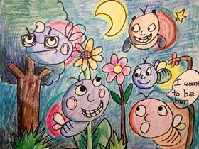 开派对的萤火虫蜡笔画作品图片