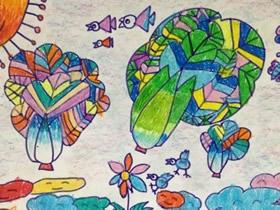 会飞的蔬菜蜡笔画作品图片
