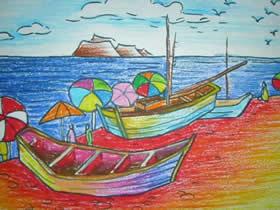 海边的小船蜡笔画作品图片