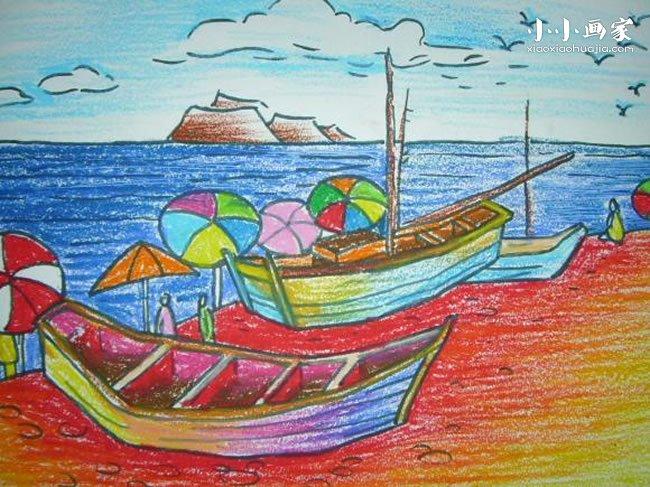 海边的小船蜡笔画作品图片- www.xiaoxiaohuajia.com