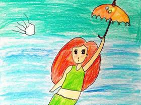 打伞的美人鱼蜡笔画作品图片