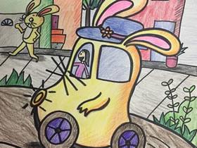 兔子汽车蜡笔画作品图片