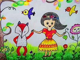 我和小狐狸跳舞蜡笔画作品图片