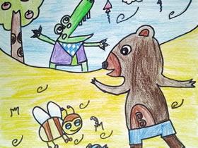 动物们的生活蜡笔画作品图片
