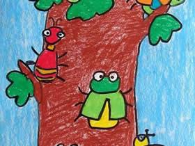 昆虫和大树的蜡笔画作品图片