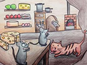 猫捉老鼠蜡笔画作品图片