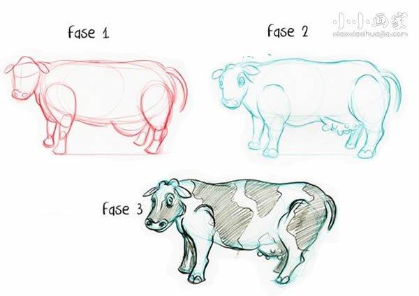 奶牛铅笔画画法教程- www.xiaoxiaohuajia.com
