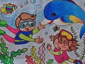 我和海豚一起游泳蜡笔画作品图片
