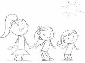 一起跳舞的三姐妹铅笔画作品图片