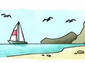 彩色海边简笔画画法图片步骤