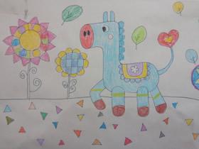 溜达的小马蜡笔画作品图片