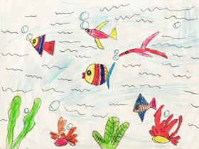 海底的小鱼蜡笔画作品图片