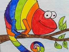 变色龙蜡笔画作品图片