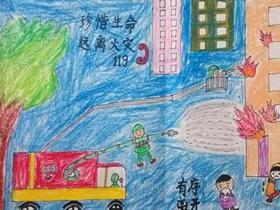 关于消防安全的蜡笔画作品图片