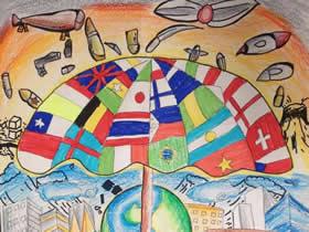 庆祝抗战胜利周年蜡笔画作品图片