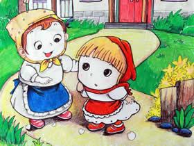 小红帽蜡笔画作品图片